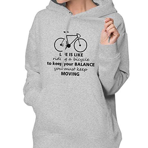 Women's Pullover Hoodie Bicycle Lette Hoodie Sweatshirt Long-Sleeved with Pocket Gray ()
