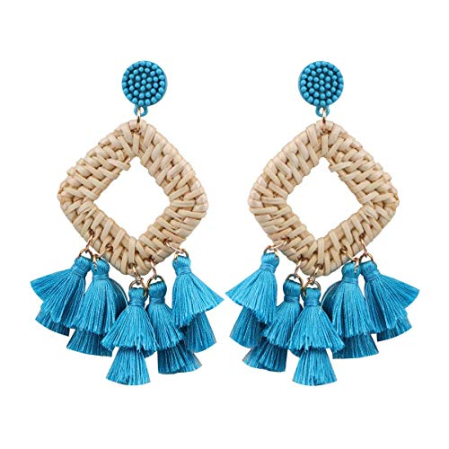 HAO HONG Statement Beads Hoop Tassel Earrings for Women,Drop Earrings Handmade Beaded Fringe Dangle Earrings (F)