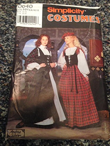 - Simplicity 0640 Sewing Pattern, Misses' Costume & Hat, Size HH (6,8,10,12)