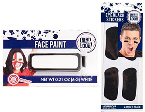 Create Out Loud White Face Makeup Black Eye Stickers Sports face gamer Spirit Fan 2-pack (Face Paint School Spirit)