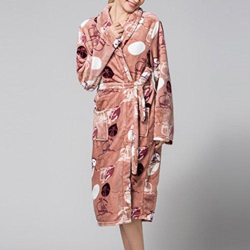 Wrap Moda Brown Plus Thick Zhhlaixing Bathrobe Robe Size Gown Luxurious Soft Dressing Coral Prints Housecoat Fleece Super Bath Ladies Floral 6wqpdH