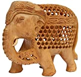 Carved Elephant Premium Quality Elephant Statue Decor - Hand carved Wooden Figurine of Mother Elephant Unique Sculpture with Baby inside the Tummy and on the Trunk