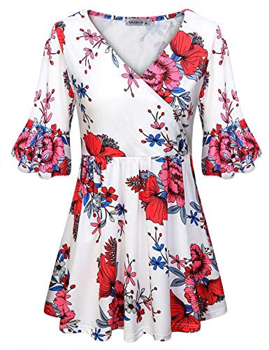 - MOQIVGI Flutter Sleeve Tops for Women,Fall Winter Fashion 2018 Ladies Clothing Prime Crossover V Neck Dressy Flowy Trapeze Ruched Blouses Floral Print Wrap Empire Line Tunic Shirts White X-Large