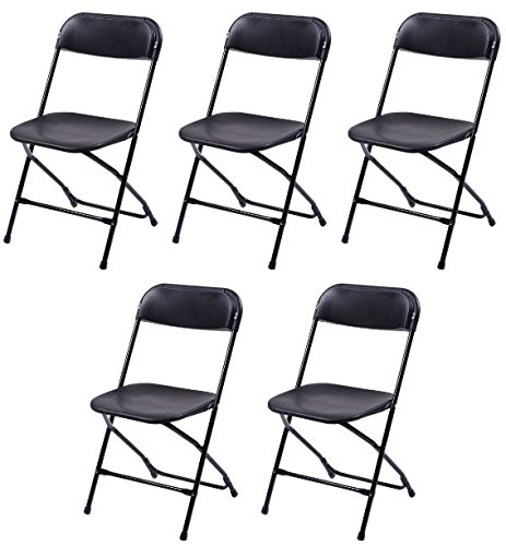K&A Company Plastic Folding Chairs Commercial Stackable Chair Wedding Party Event Pack Quality Premium Lb Seat Back Set of 5 Black