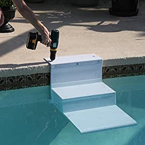 Paws Aboard PoolPup Steps - Escalera para Piscina (71 x 71 x 53 cm), Color Blanco: Amazon.es: Productos para mascotas