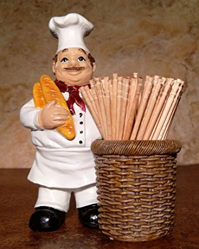 Jolly Italian Chef Baker Toothpick Holder with Bread and Basket Kitchen Accessory ()