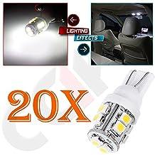 CCIYU 20 Pack T10 White 10 SMD LED Car Interior Light Lamp Bulbs 168 194 2825 W5W DC 12V For 2008-2013 Nissan Rogue