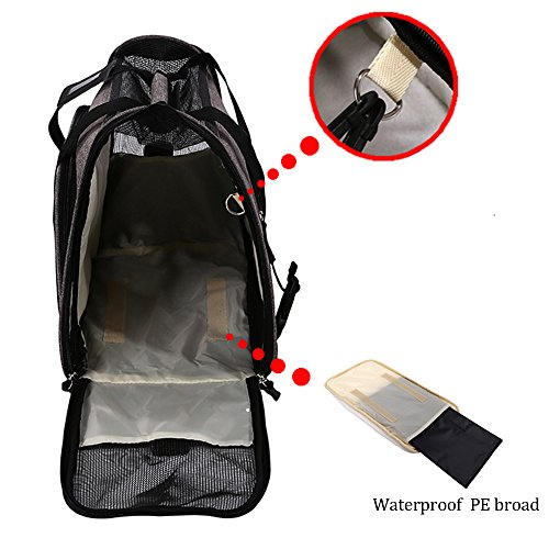 Pet Travel Carrier Airline Approved Premium Under Seat Dogs Cats - Soft Sided Pet Carrier Tote Bag Backpack Fleece Bed & Safety Lock(Grey) by okdeals (Image #2)