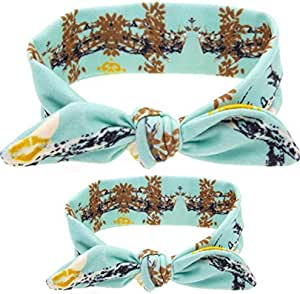2pcs/Set Mommy and Me Matching Headbands Turban Headwraps Rabbit Ears Hair Bands Bows Accessories Soft Cotton Bowknot Headband Photo Prop,Pine green
