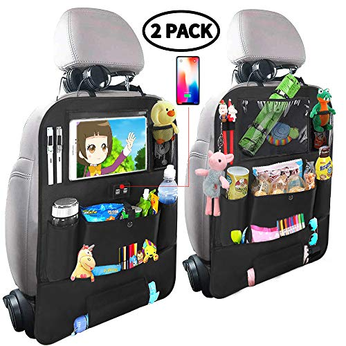 Car Backseat Organizer for Kids,Car Organizer Kick Mats Seat Back Protectors with Clear 10 Tablet Holder + 4 USB Charging Port Multi-use Storage Pockets for Baby Vehicles Travel Accessories(2 Pack)