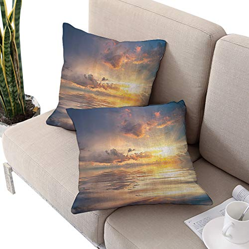 Ocean Decor Collection Square futon cushion cover ,Mystic View of Sunset Over Sea with Reflection in Water Majestic Clouds in the Sky Picture Blue White Cushion Cases Pillowcases for Sofa -
