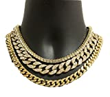 "14K Yellow Gold plated Quavo Choker 20"" Cuban & 18"" Full Iced Cuban & 1 ROW TENNIS CHAIN SET"