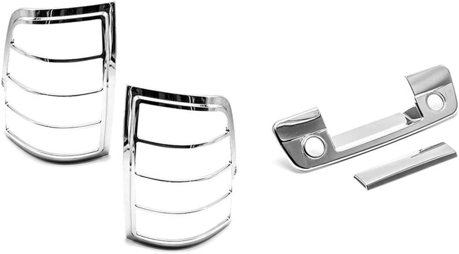 S SIZVER Chrome Taillight Frame Trim+Tailgate Covers with Backup Camera Hole Compatible with 2009-2018 RAM 1500+2500+3500