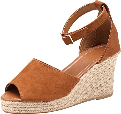 - U-lite Women's Open-Toe Suede Chamois Summer Outdoor Wedges Sandals Brown9.5-10