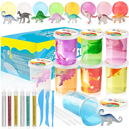 Fossil Dinosaur Putty - Growsland Slime Kit for Girls Boys, DIY Crystal Fluffy Slime Supplies Toys 21.5 OZ 8 Colors Stretchy Non Sticky Clear Slime Putty Gifts, Includes Slime Containers, Glitters and Tools