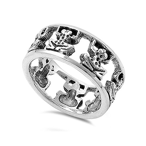 Sterling Silver Frogs Ring, 8mm (7)