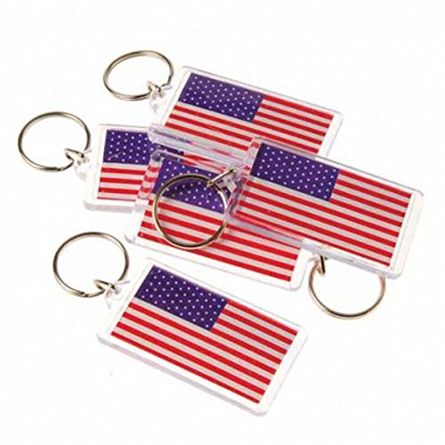 American USA Flag Keychain 4 Pack (Confederate Ring)