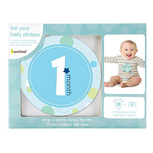 Pearhead First Year Monthly Milestone Photo Sharing Baby Belly Stickers, 1-12 Months, Blue (Send Gift Hamper)