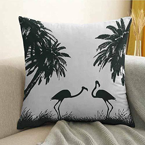 Nature Pillowcase Hug Pillowcase Cushion Pillow Flamingo Birds and Palm Trees in Miami Exotic Tropical Natural Scenery Artwork Anti-Wrinkle Fading Anti-fouling W16 x L16 Inch Black White