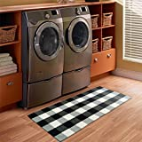 Cheap USTIDE 100% Cotton Black and White Buffalo Plaid Rug Washable Floor Runner Rug 23.6″x70.8″