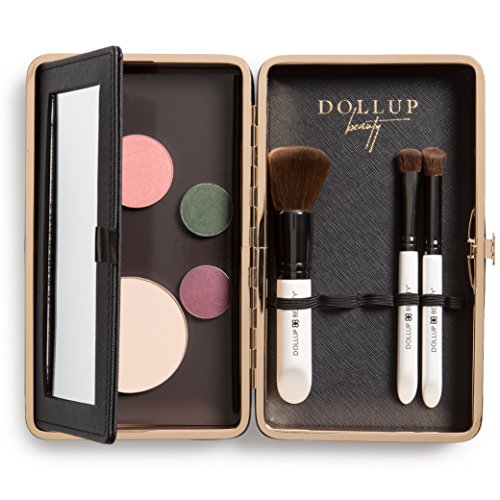 Dollup Case Makeup Essentials Clutch Organizer (Jetset Black) - Features Empty Customizable Magnetic Palette, Foldaway Vanity Mirror, and Elastic Holding Bands for cosmetic - Cosmetic Case Magnetic