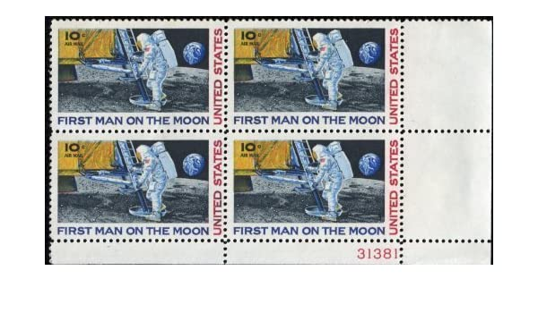 Amazon FIRST MAN ON THE MOON NEIL ARMSTRONG SPACE LANDING AIRMAIL C076 Plate Block Of 4 X 10 US Postage Stamps Toys Games