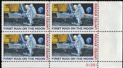 FIRST MAN ON THE MOON ~ NEIL ARMSTRONG ~ SPACE ~ MOON LANDING ~ AIRMAIL #C076 Plate Block of 4 x 10¢ US Postage - Stamps Air Mail Postage Us