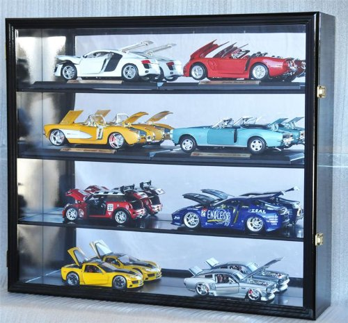 1/18 Scale Diecast Display Case Cabinet Holder Rack w/ UV Protection- Lockable with Mirror Back, - Car Display Scale Mirror