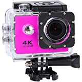 Acouto HD 4k 16P 2 Inch 170°Wide Angle Wifi Action Camera Sport Camera 30m underwater Camcorder DV Recorder with Waterproof Case Accessories Kit (Pink)