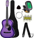 "Crescent MG38-PUL 38"" Acoustic Guitar Starter Package, Purple (Includes CrescentTM Digital E-Tuner)"