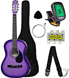 Crescent MG38-PUL 38' Acoustic Guitar Starter Package, Purple (Includes CrescentTM Digital E-Tuner)