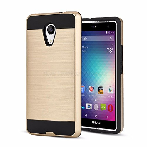 BLU Advance 5.5 HD case / Blu Grand 5.5 HD Case ,{NFW} Tough Hybrid Armor Shock Resistance Proof Case Cover for BLU Advance 5.5 HD (A070U)(VGC Gold)