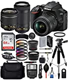 Nikon D3500 DSLR Camera with 18-55mm Lens, Nikon AF-P 70-300mm Lens and 18PC Accessory Bundle - Includes SanDisk Ultra 64GB SDHC Memory Card + Digital Slave Flash + 57' Tripod + More