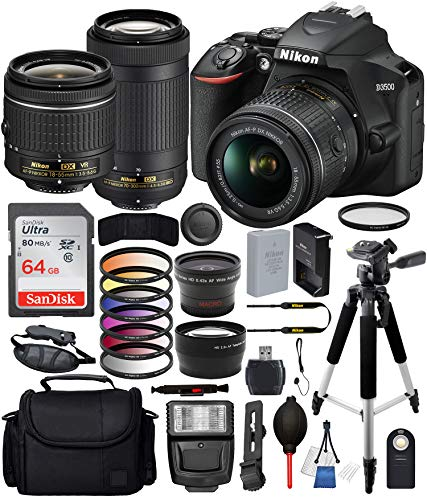 - Nikon D3500 DSLR Camera with 18-55mm Lens, Nikon AF-P 70-300mm Lens and 18PC Accessory Bundle - Includes SanDisk Ultra 64GB SDHC Memory Card + Digital Slave Flash + 57
