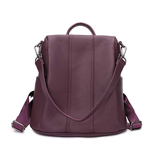 Women Backpack Purse Anti-Theft soft PU Leather Rucksack Ladies Shoulder Bag and Handbags Casual Travel Bag for Girls (Purple)