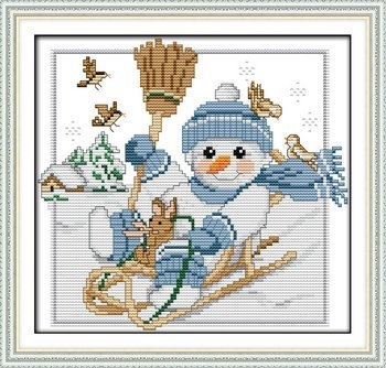 Joy Sunday Cross Stitch kits, A Christmas snowman (2),11CT Counted, 33cm×29 or 12.87