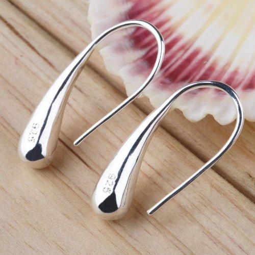 Alicenter(TM) New Fashion Jewelry Teardrop Hook Stainless Steel Silver Hoop Earrings