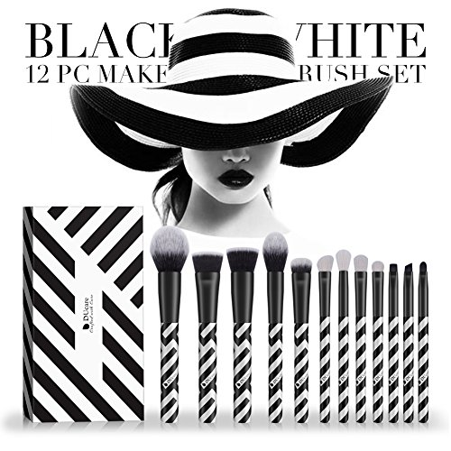 DUcare Makeup Brush Set 12 Pcs Black And White Professional Essential Face Eye Shadow Eyeliner Foundation Blush Lip Powder Liquid Cream Blending Brushes