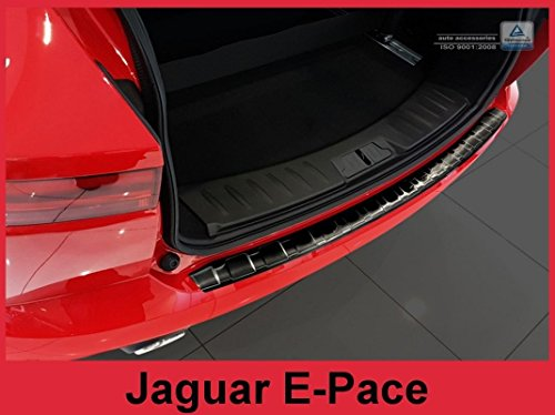 ZIC Motorsports Brushed Stainless Steel Rear Bumper Protector Guard for 2018-2019 Jaguar E-Pace - Graphite (Black) by ZIC Motorsports