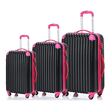 Merax Travelhouse 3 Piece Spinner Luggage Set TSA Lock (Black & Pink)