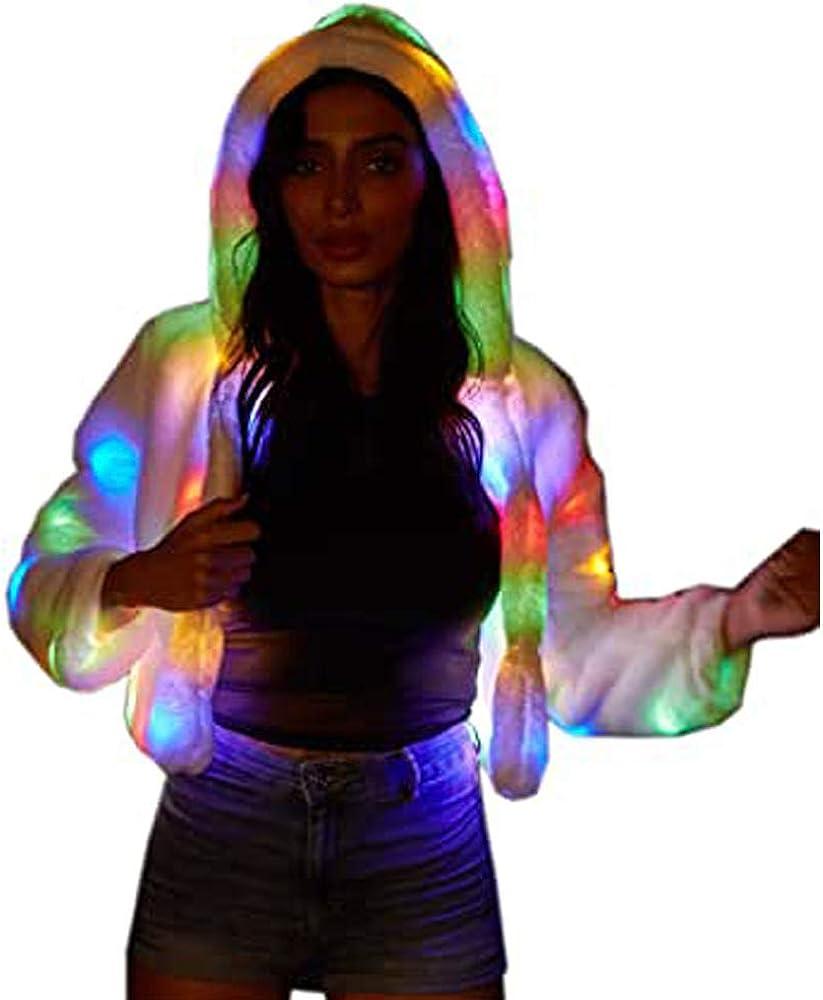 Ohlees/® Led Light Up Christmas Party Women Girls Winter Long Fur Vest Coat