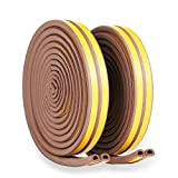 Door Weather Stripping – Draught Excluder Foam Seal Strip for Doors and Windows – Insulation Weatherproof - Self-Adhesive Double Seal Soundproof Weather Stripping – 3/8-Inch x 1/4-Inch x 10-Feet,Brown