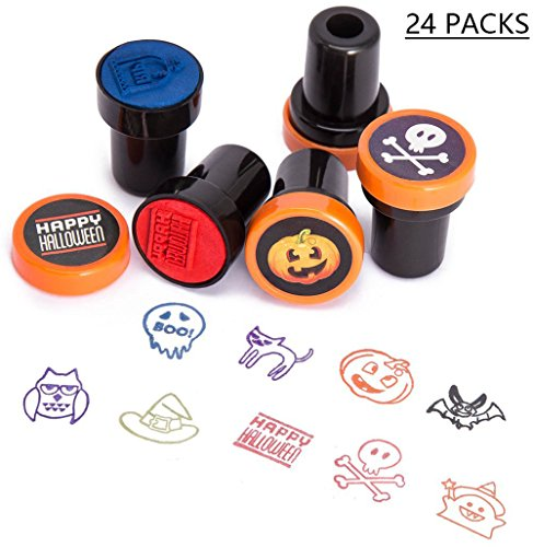 Halloween Stamps Stampers Party Favors - Goody Bags Fillers Prize Kids Trick Or Treat- Ghost / Witch Hat / Bat / Pumpkin / Spider / Skull (Owl Halloween Treat Bags)