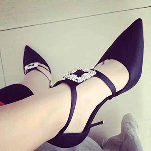 de minces des hauts diamant 8 marées chaussures soie les red trente de sauvage l'automne tide chaussures chaussures talons boucles chaussures hiver pointues huit noir et mesdames q4Z8Xwxa