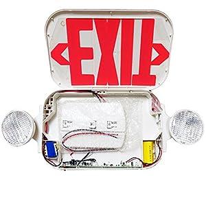 eTopLighting 2 Packs of LED Red Exit Sign Emergency Light Combo with Battery Back-Up UL924 ETL listed, EL2BR-2