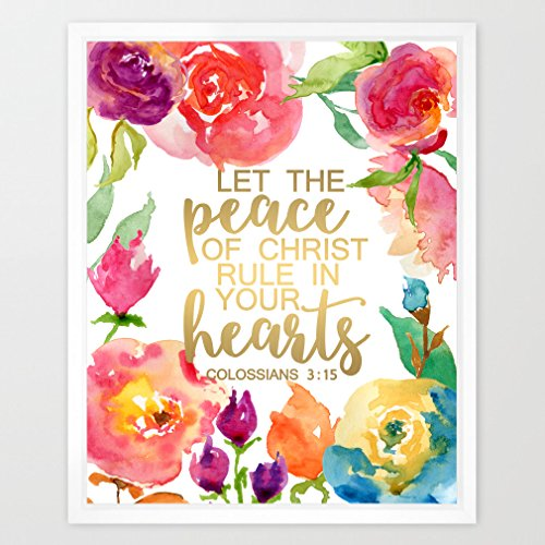 Eleville 8X10 Let the peace of christ rule in your heart Real Gold Foil and Floral Watercolor Art Print (Unframed) Scripture print wall bible verse Colossians 3:15 nursery Holiday Wedding Gift WG063