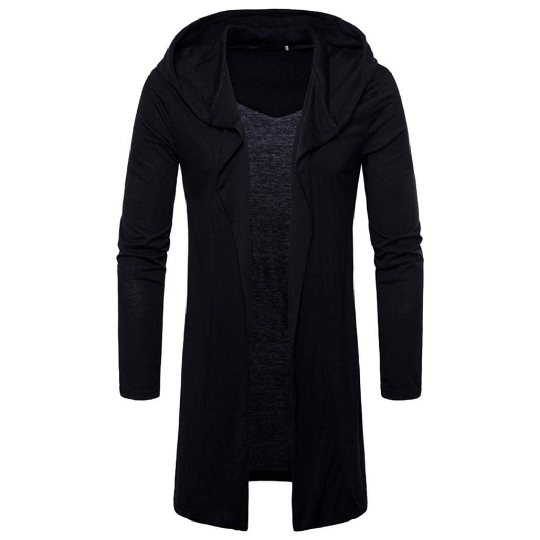 Realdo Mens Long Sweatshirt, Casual Autumn Winter Solid Slim Trench Coat Jacket Cardigan Long Sleeve Outwear(X-Large,Black)
