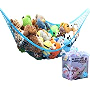 MiniOwls Toy Storage Hammock X-Large Organizer and De-cluttering Solution for Every Boy's Room, Nursery & Playroom (blue, XL)