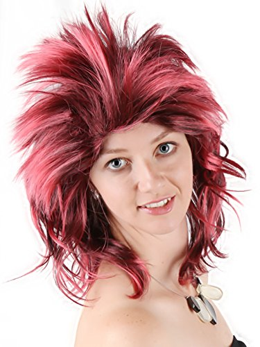 Mohawk Adult Wig - Anime Party 80s Character Zinger Punk Wig Disco Spink Mohawk Cosplay Halloween costume Synthetic Hair Adult Women Men Red