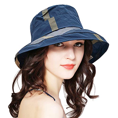 DOCILA Adult Fashion Checkered Waterproof Bucket Hats Lightweight Summer Fishing Camping Sun Cap (Navy) (Hat Summer)